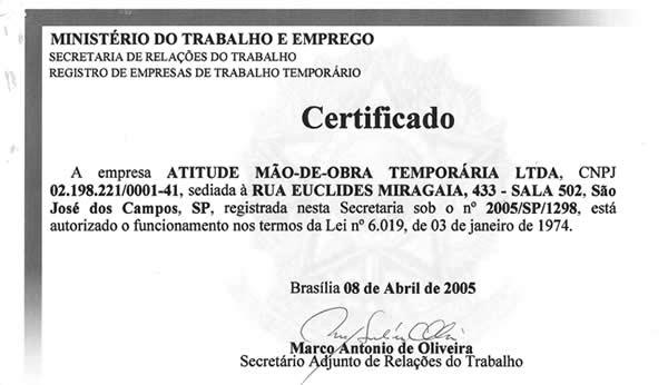 REGISTRO JUNTO AO MINISTERIO DO TRABALHO
